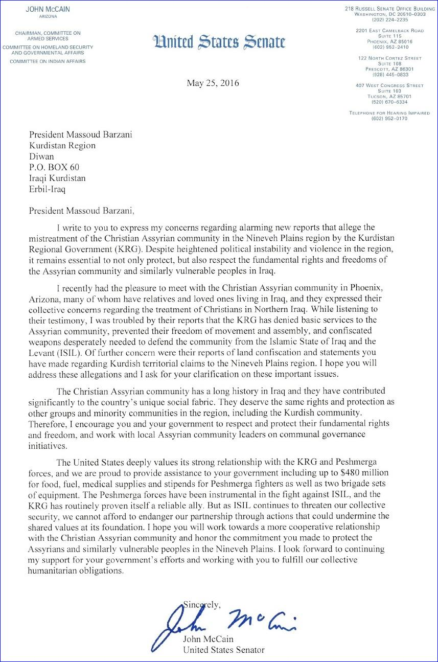 Write Letter To Senator John Mccain